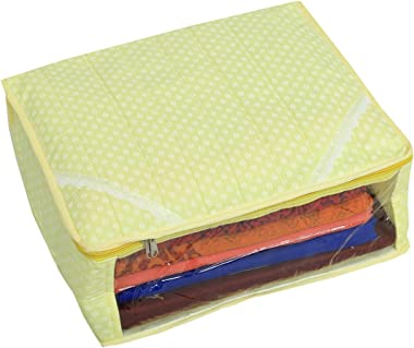 Kuber Industries Designer Saree Cover/Saree Bag in 3 Layered Polka Dots Quilted Cotton Material -Design Code KSU2976