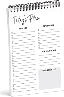 """Inkdotpot To Do List Notepad – 6"""" X 9"""" Paper Stationery, Classic White Daily Planner Spiral Notepad Daily Checklist- Motiv..."""