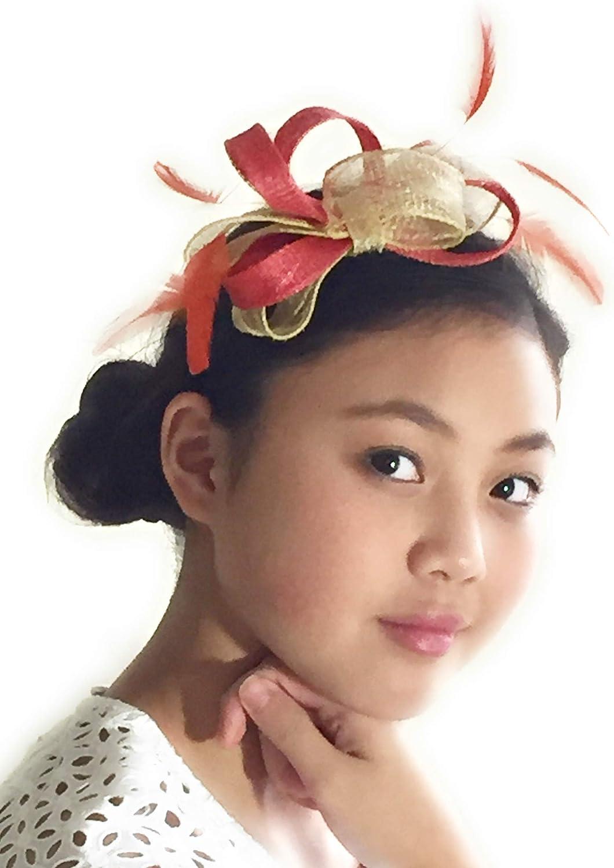 Gab & Koko Handmade Coral and Beige Headband Fascinator Made of Sinamay and Feathers