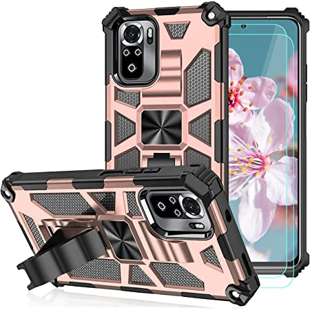 Case for Xiaomi Redmi Note 10/Note 10S(Not fit Note 10 5G) with HD Screen Protector [2 Pack],Heavy Duty Shockproof Back Cover Built Magnetic Car Kickstand for Redmi Note 10S Phone Case -Pink