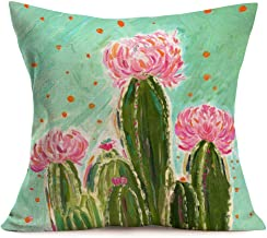 Smilyard Summer Style Pillow Covers Oil Painting Cactus Flower Throw Pillow Case Cotton Linen Plant Cushion Cases 18x18 Inch Home Decorative Cushion Covers for Sofa Bedroom (OI-01)