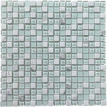 7,6 x 15,2 cm 40 St/ück 6 x 3 wei/ß Art3d Backsplash Glasfliesen f/ür K/üche oder Badezimmer