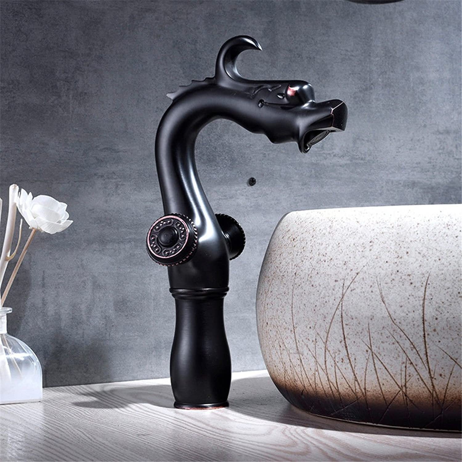 Hlluya Professional Sink Mixer Tap Kitchen Faucet Antique basin faucet bathroom Washbasin Faucet black faucet full copper hot and cold single hole Single Handle, B