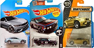 BMW Hot Wheels & Matchbox Collection M1 Gold series + M4 Series Blue Factory Fresh #154 2017 + '73 BMW 3.0 CSL Race Car Black in Protective Cases Bundle