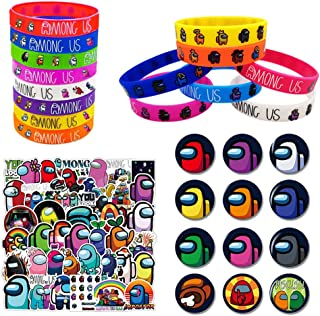 OfferMax A-mong us Game Party Supplies 74 Pcs Party Favors Set Include 12 Bracelets, 12 Button Pins, 50 Stickers for Video...