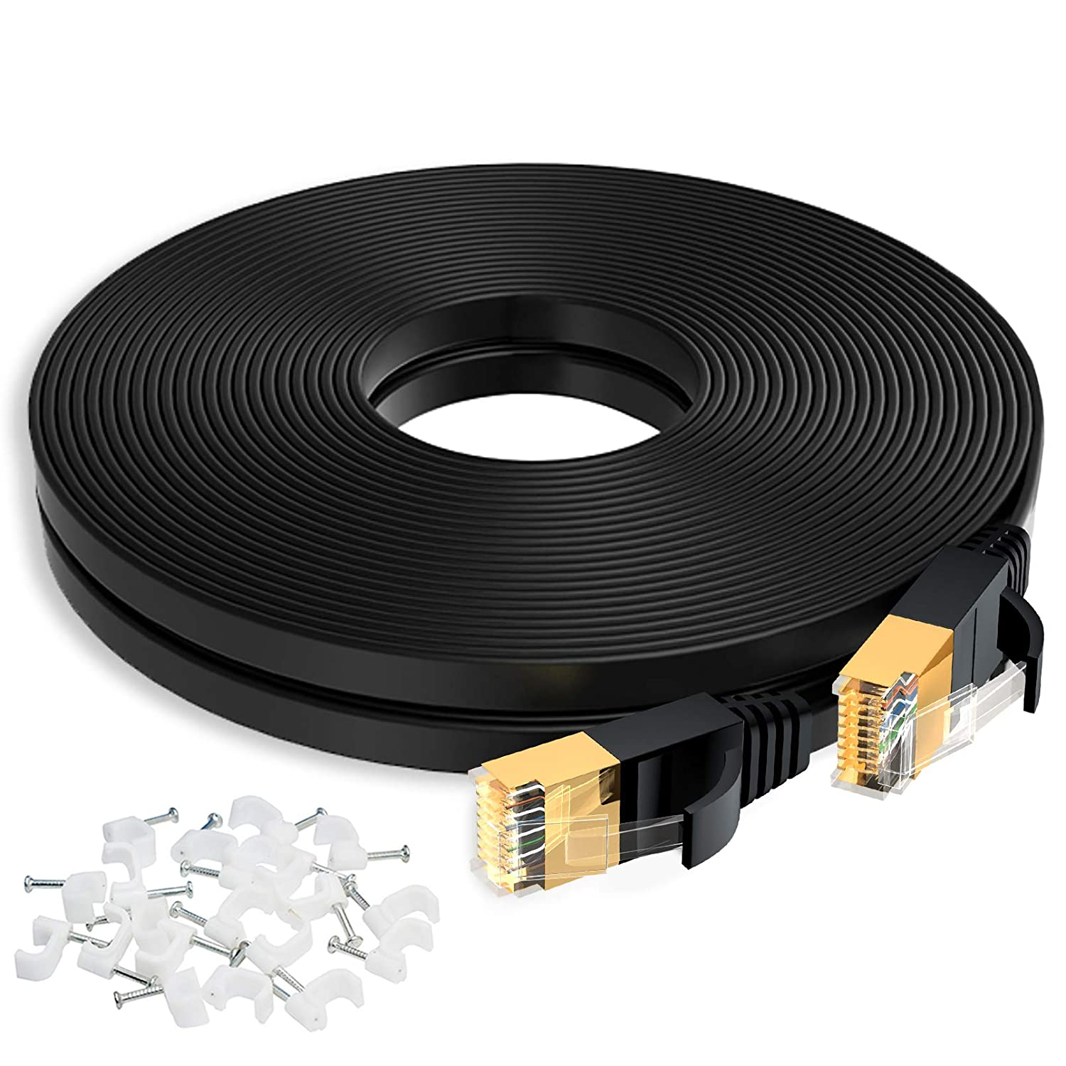 Cat 7 Ethernet Cable, 50 Ft High Speed Internet Patch Cord with Shielded Gold Plated RJ45 Connectors, Flat LAN Wire Faster Than Cat6, Outdoor Weatherproof for PS5, Router, Switch, Modem, Black: Computers & Accessories
