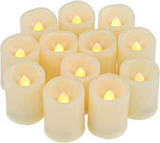 12 Small Round Battery Operated Flameless LED Votive Candles Unscented Cream White Fake Flickering Electric Tea Lights Bulk Set Baptism Party Wedding Decorations Home Decor Centerpieces Batteries Incl
