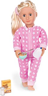 Our Generation BD30259Z Clothes-Onesies Funzies-Pyjama Outfit for 46cm Doll-Ages 3, 4, Pink and White, Star Print