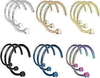 LEEQ 18 pezzi 20 g c forma di anello al naso in acciaio inossidabile cerchi per il naso gioielli penetranti per il corpo p...