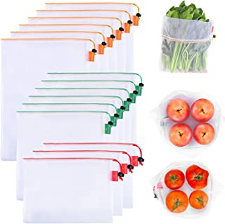 Gogooda Reusable Produce Bags Set of 15 Mesh Produce Bags 3 Size Washable and See-through Grocery Bags, with Colorful Tare Weight Tags,3 Small 6 Medium & 6 Large