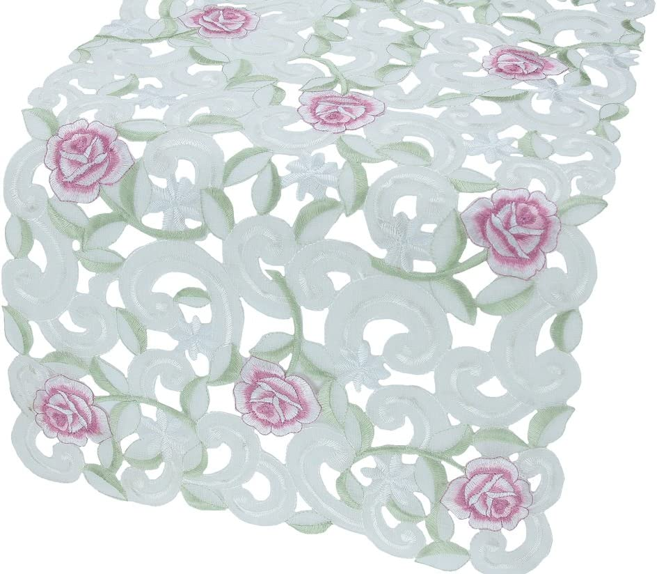 Xia Home Fashions Mini Dainty Rose Embroidered Cutwork Spring Table Runner, 12-Inch by 28-Inch