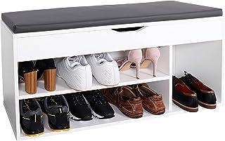 RICOO WM034-W-A Meuble à Chaussures 104x49x30cm Bois Blanc Banc Coffre Rangement Commode Banquette Meuble de Rangement Cha...