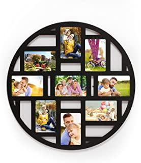 Adeco Decorative Old China Themed Black Wood Round Circular Circle Wall Hanging Prints Artwork Picture Photo Collage Frame, 9 Divided Openings 4x6