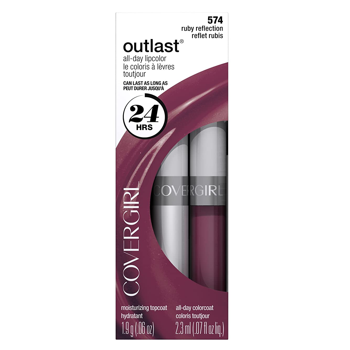 の撤退夫COVERGIRL OUTLAST ALL-DAY LIP COLOR #574 RUBY REFLECTION