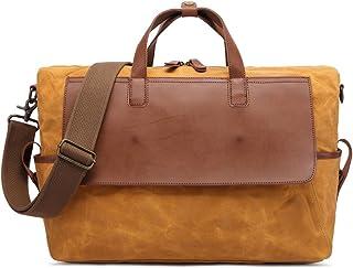 Men's Handbag Retro Oil Canvas Men's Bag Waterproof Travel Bag Large Capacity Computer Bag (Color : Orange, Size : L)
