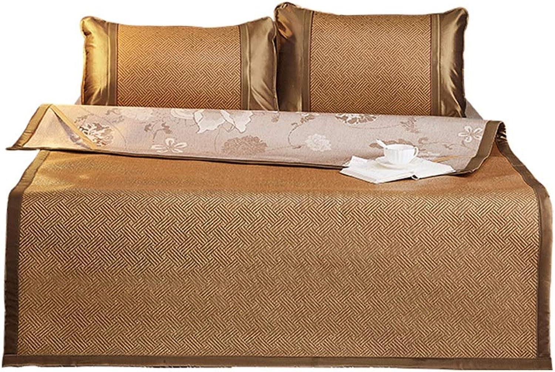 Mat - Bed Rattan Three-Piece Mat, Foldable Summer Air Conditioning Ice Silk Mat 1.5m (5 Feet Bed)