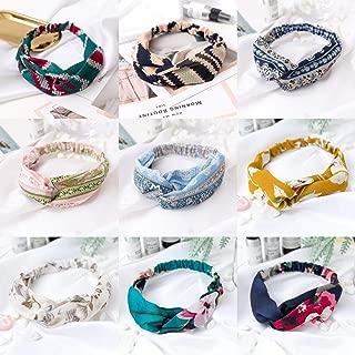 SAYGOGO Women Headbands+Sports Hair Band, Boho Floral Style Criss Cross Head Wrap Hair Band Elastic Hair Band Accessories