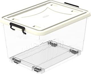 Cosmoplast IFHHST538T9 Storage Box Plastic Storage Box Clear with Wheels and Latch-locking Lid, Off White, W 37.5 x H 31.0...