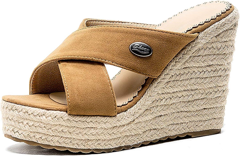 VOMIRA Women's Wedge Sandals Platform High Heel Open Toe Slip-on Slippers Suede Espadrille Solid Slides Summer Beach Seaside Vacation Sandals