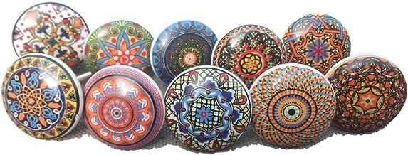20 x Mix Vintage Look Flower Ceramic Knobs Door Handle Cabinet Drawer Cupboard Pull Mandala Xfer New