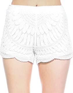 Women's Casual Summer Beach Shorts Solid Shorts Lace Crochet Shorts