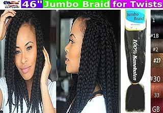 100% Kanekalon Braiding Hair, Jumbo Braiding Hair, KK Braiding hair, Jumbo Braiding Hair, Braids Hair Extensions for Twists, 3 packs, Color #1B/27H