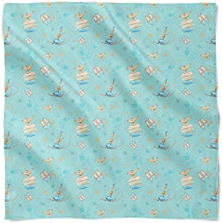 Princess Jasmine Icons on Blue Disney Inspired Satin Style Scarf