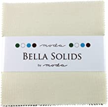 """Bella Solids Ivory Moda Charm Pack by Moda Fabrics; 42-5"""" Quilt Squares"""