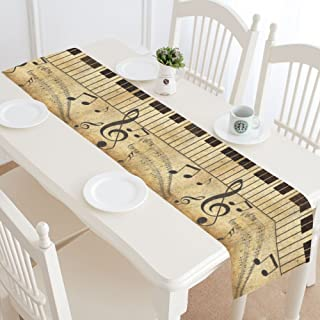INTERESTPRINT Music Note Treble Clef Table Runner Home Decor 14 X 72 Inch,Music Note Piano Table Cloth Runner for Wedding Party Banquet Decoration