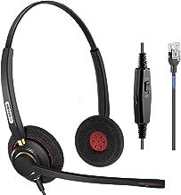 Arama Phone Headset RJ9 with Noise Cancelling Mic Compatible with Polycom VVX311 VVX410 VVX411 VVX500 Mitel 5320e Avaya 14... photo