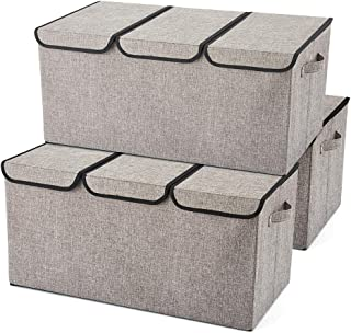 EZOWare Extra Large [3-Pack] Linen Fabric Foldable Storage Cubes Bin Box Containers with Lid and Handles - Light Gray for Home, Office, Nursery, Closet, Bedroom, Living Room (24x12x12inch)