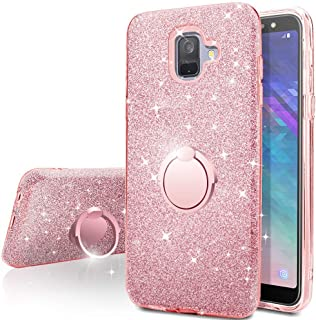 Galaxy A8 2018 Case,Silverback Girls Bling Glitter Sparkle Cute Phone Case with 360 Rotating Ring Stand, Soft TPU Outer Cover + Hard PC Inner Shell Skin for Samsung Galaxy A8 2018 -Rose Gold