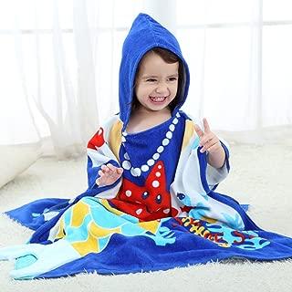 NEWEST Animal Hooded Baby Towel Cotton Bathrobe for Boys Girls 0-7 Year (Blue, 0-7 Year)