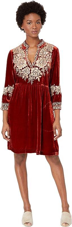 Olenna Velvet Henley Boho Dress