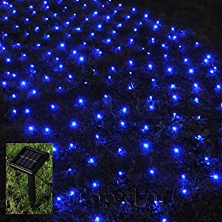 1Mx2M Outdoor Solar Net Led String Lights Christmas,eTopxizu 3.28Ftx6.56Ft 120led Solar Powered Outdoor Home Garden Path String Light Lamp Wall for Outside Garden Camping Patio Party Xmas(Blue)