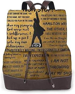 Ha-mi-ltoN مقتبسات موسيقية بو الجلود المحمولة حقيبة الظهر عارضة الكلية حقائب Daypack للنساء الرجال