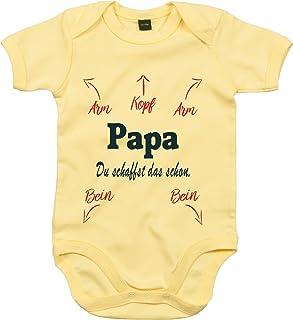 Mister Merchandise Mister Merchandise Baby Body Papa, du schaffst das schon Strampler liebevoll bedruckt Vater Vati Vadder wickeln Gelb, 0-3