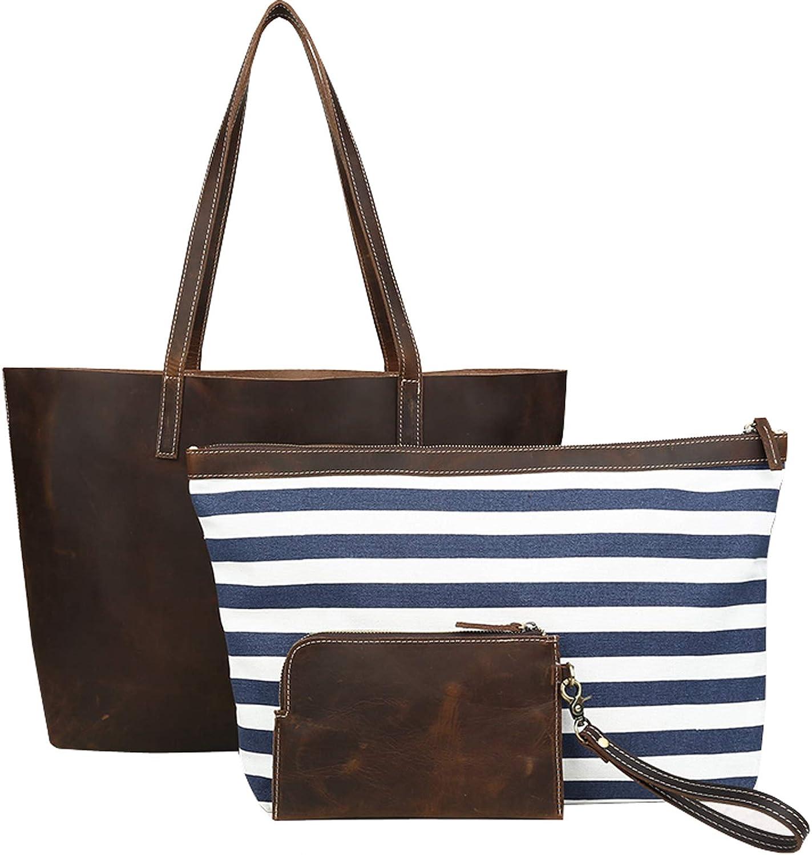 Iswee Women Shoulder Tote Bag Top Handle Handbag 3 Piece Set Large Capacity Bag for Lady