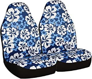 Allison 67-0346BLU Blue Hawaiian Print Universal Bucket Seat Cover - Pack of 2