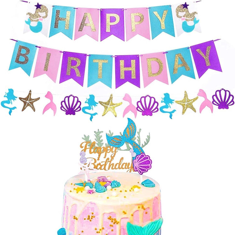 RUBFAC Mermaid Happy Birthday Banner and Glitter Mermaid Cake To