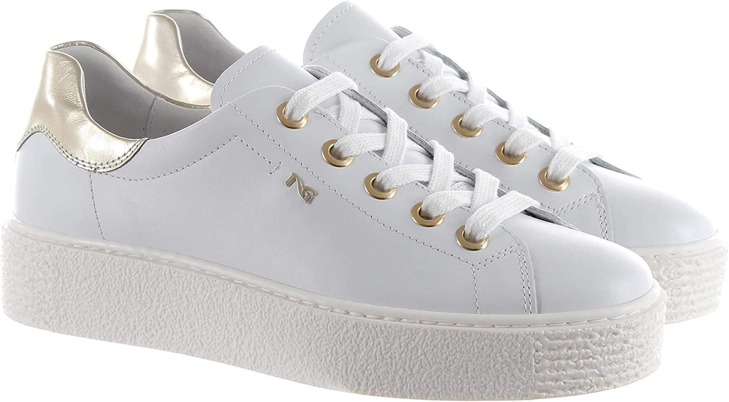 black Giardini Women's P907801D707 White Leather Sneakers