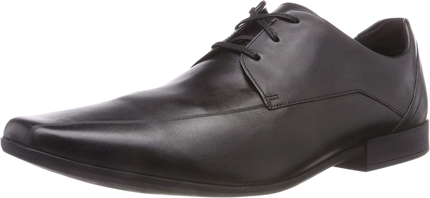 Clarks Glement Over - Black Leather Mens shoes