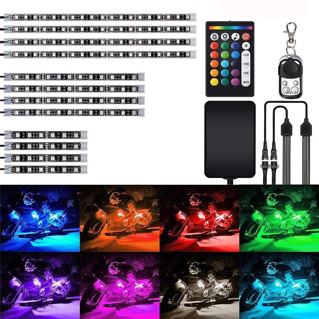 RISHIL WORLD 12Pcs 18Color RGB LED Effect Decoration Lights Kit Voice Remote Control for Car Motorcycle