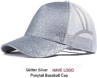 Outdoor Baseball Cap Casual Ponytail Outdoor Baseball Cap Women Adjustable Hat Sequins Shine Hip Hop Caps for Women Dad Hat Summer Glitter Mesh Hats (Color : Silver)