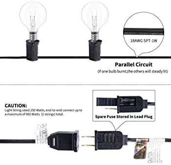 Brightown Outdoor String Light-50Ft G40 Globe Patio Lights with 52 Edison Glass Bulbs(2 Spare), Waterproof Connectabl...
