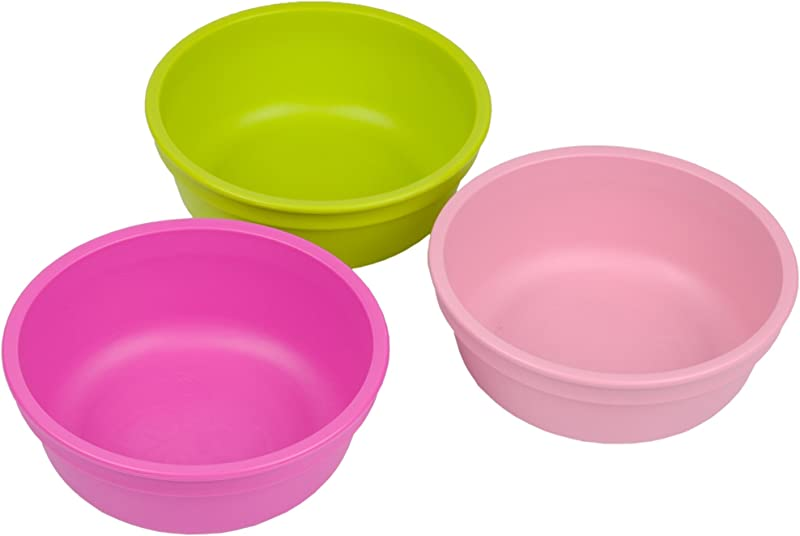 Re Play Made In The USA 3pk Bowls For Easy Baby Toddler And Child Feeding Bright Pink Green Baby Pink Tulip