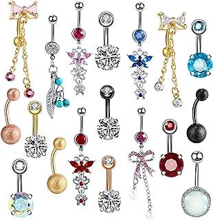 1PC Steel Belly Button Rings Piercings Belly Dangle Navel Piercing Nombril Piercing Oreja Ear Piercings Body Jewelry Pircings,A0915,14G 1.6x10x5mm