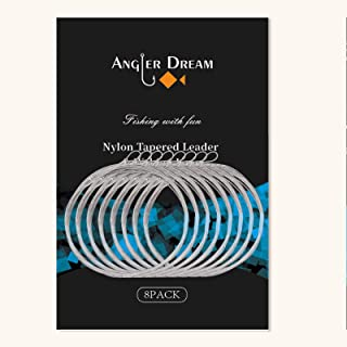 ANGLER DREAM 8 Pack Welded Tapered Leader Fly Fishing Leader with Loop 9ft 0/1/2/3/4/5/6/7X Nylon Fly Leader …