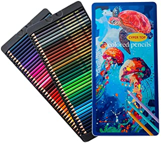 Cyper Top 72 Colored Pencils Oil-Based Set, Professional Drawing Pencils for Artists, Kids and Adults Coloring Books, Soft Wax-Based Cores and Vibrant Colors Perfect for Sketching &Shading