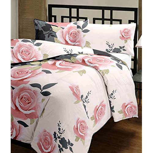 Renown Beautiful Peach Floral Design Reversible Double Bed Quilt/AC Blanket/Dohar (Pack of 1 Pc)